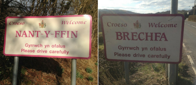 Nant-y-Ffin and Brechfa road signs