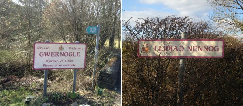 Gwernogle and Llidiad Nennog road signs