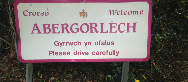 Abergorlech Road Sign