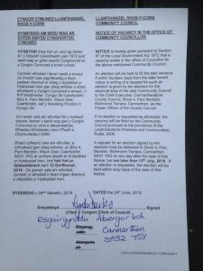 photo of notice of vacancy