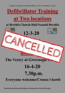 defibrillator training cancelled notice